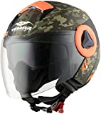 Casco Aperto Moto Vemar Breeze Camo Matt Khaki-Arancio (Xs , Arancio)