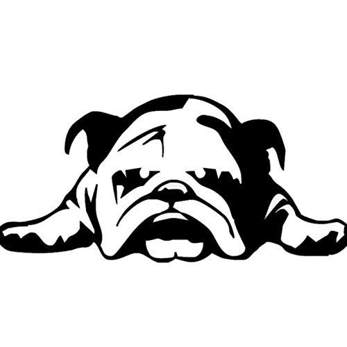 Monlladek Abnehmbarer Autoaufkleber, Auto Autoaufkleber Englische Bulldogge Müde Hündchen Personalisierte dekorative Anti-Kratzer Aufkleber Auto Styling Aufkleber (schwarz)