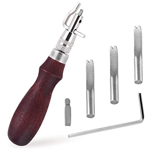 Lederfräser-Werkzeug, 7-in-1 Pro verstellbare Nahtfugen- und Faltenkantenfräser, Lederhandwerks-Sets, Lederschnitz-Schneidewerkzeug für Lederarbeiten
