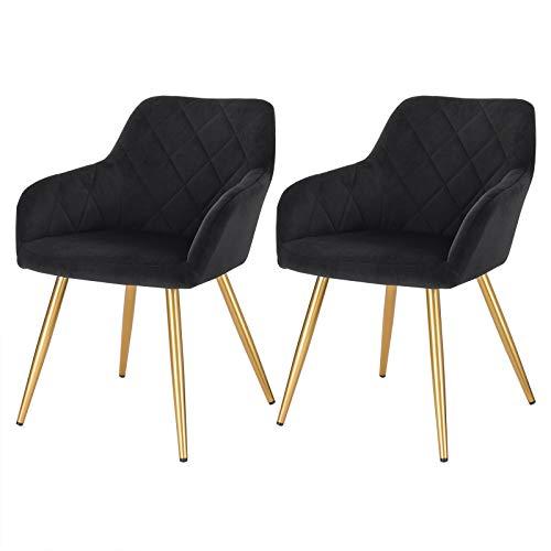 Lestarain 2X Sillas de Comedor Dining Chairs Sillas Tapizadas Paquete de 2 Sillas Cocina Nórdicas Terciopelo Sillas Bar Metal Silla de Oficina Negro