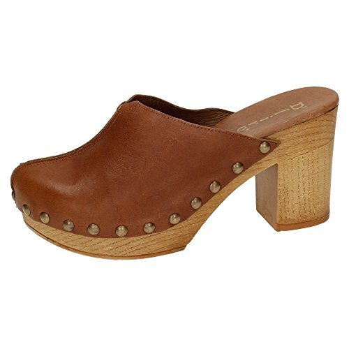DLIRO 825 Zueco Piel Y Madera Mujer Sandalias TACÓN