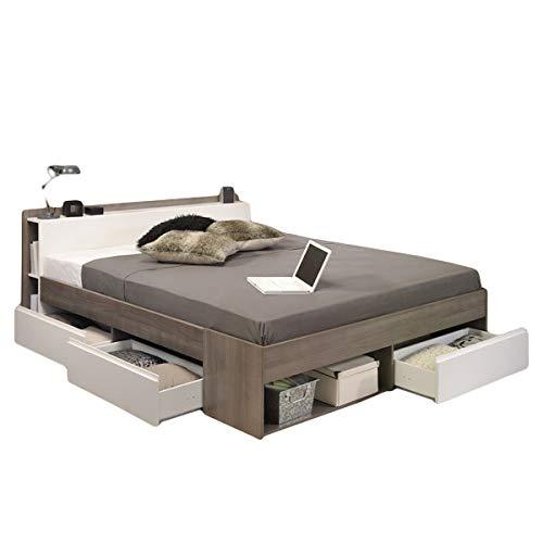 Funktionsbett 160 * 200 cm Eiche Silber Grau/Weiß inkl 3 Roll-Bettkästen Jugendzimmer Kinderzimmer Schlafzimmer Kinderbett Jugendbett Liege