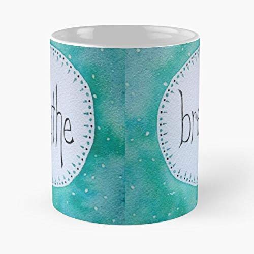 Breathe Watercolor Yoga Mantra Lettering Inspirational Cote Hand I - La mejor taza de café de cerámica de mármol blanco de 11 oz