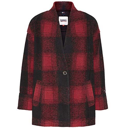 Tommy Jeans Damen Tjw Check Blazer Jacke, Deep Crimson/Black, XS