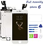 for iPhone 6 Screen Replacement White, Lcd Touch Digitizer Display Screen with Front Camera Ear Speaker, Screen Protector and Repair Tools for A1549, A1586, A1589