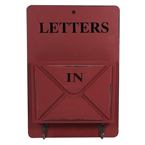 Holz Briefkasten Buchstabe Rack Wand montiert Mail Sortiermaschine Aufbewahrungsbox Schlüssel Haken stehend Holder Organizer Flur Eingang Holt Hängekorb Vintage Home Dekoration rot