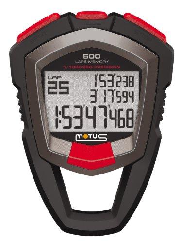 Motus Millennium MT68 Stoppuhr mit Messung von 500 Zeiten (Runde/Zwischenzeit) und mit 1/1000 Sekunde Genauigkeit Schwarz