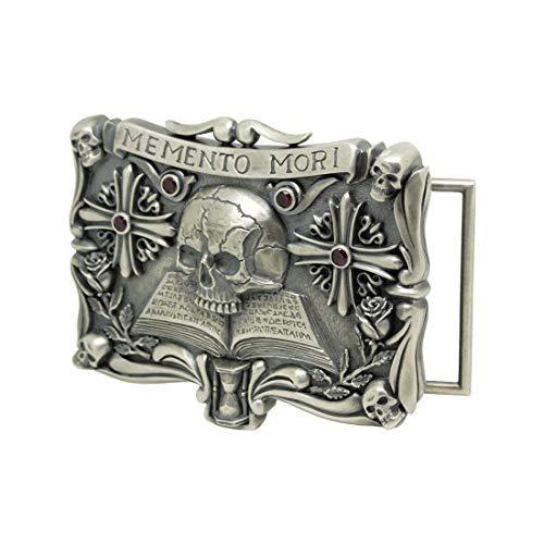 Handmade Sterling Silver 925 Custom Made Skull Over Book Masonic Mens Biker Belt Buckle Memento Mori