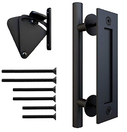 Floradis Pull and Flush Handle Set 12 for Sliding Barn Door. Fit Doors Up to 2 1/3. Flush Mount Back Plate. 3 Pairs of Different Length Screws. Frosted Black Satin Powder Coating Hardware