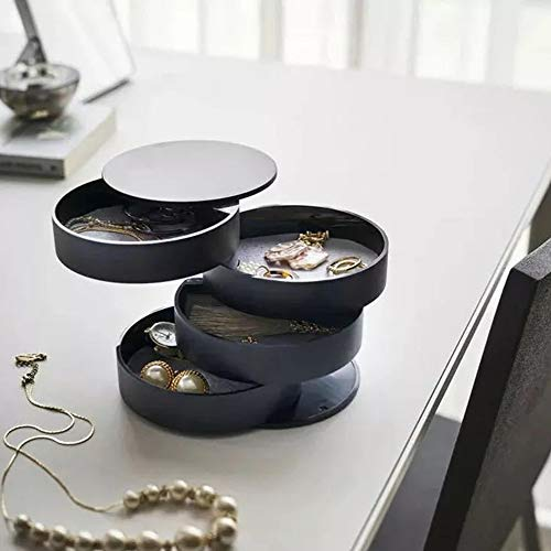 Preisvergleich Produktbild WXX Schmuckkästchen 360° aus Drehbare Schmuckaufbewahrung Runde Form Schmucklade Damen für Ringe Halter für Halskette Armband Ohrring Geburtstag Frauen Geschenk, Schwarz