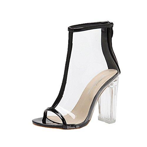 OverDose Damen High Heels Sandalen Damen Knöchelriemen Schnalle Pumps Klare Stilett Schuhe Gladiator Transparente Streifen Reißverschluss Sandalen Knochen Ferse
