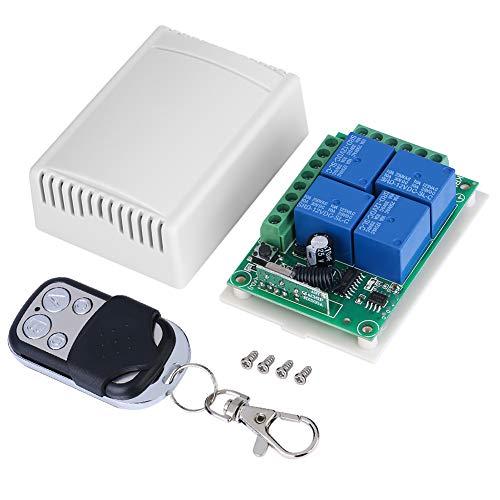 Alvinlite Interruptor Remoto inalámbrico - Tablero Receptor de Interruptor de Control de Puertas de Garaje con Control Remoto DC12V 4-CH 433MHZ