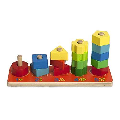 Giocattolo per bambini formine in legno colorato impilabili 15 blocchi 2758 Multicolore Unica
