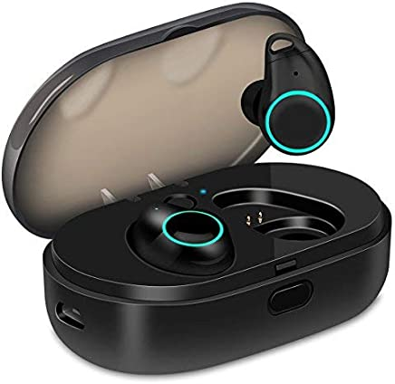 U-ROK Wireless Earphones with 800mAh Charging Box, Touch Control Sports Bluetooth Earbuds in-Ear IPX5 Waterproof HD Stereo Sweatproof Headphones for Gym Running Exercising with Built-in Mic (Black)