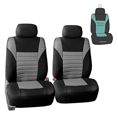 FH Group FB068102 Premium 3D Air Mesh Seat Covers (Gray) Front Set with Gift - Universal Fit for Cars, Trucks, SUVs