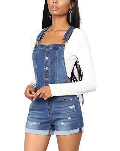 Mujer Peto Vaquero Cortos Talla Grande Mono Jumpsuits Pantalón Corto De Jeans Sin Mangas Bolsillos Zarco M