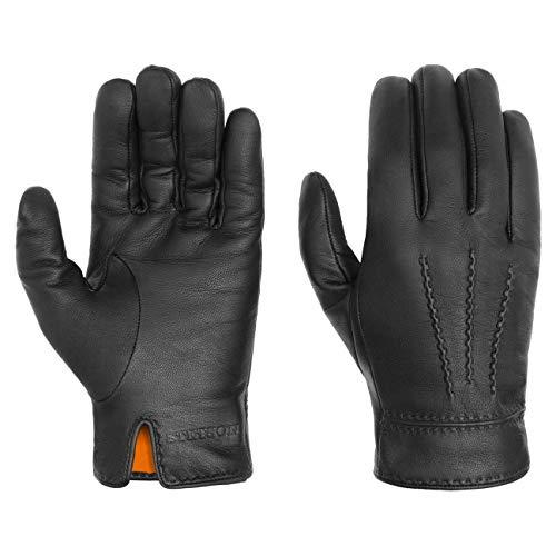 Stetson Soft Nappa Lederhandschuhe Herren - Fingerhandschuhe mit Futter aus Baumwolle - Handschuhe aus Leder (Ziege) Herbst/Winter - Herrenhandschuhe schwarz 8 HS