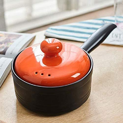 SHYOD Cazo con antiadherente Cerámica tapa y asa, olla pequeña sartenes ollas de cerámica Pot Milk Baby Food (Color : Orange)