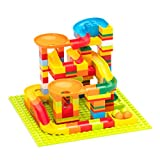 ROBUD Marble Run Race Track Set for Kids, Marble Maze Game Building Blocks Toys Gift for Boys & Girls, Aged 3 Years Old and Up - 140PCS
