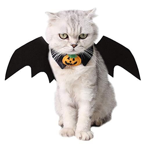Kostüm für Katzen, Justierbarer Haustier Katzenkostüm Weihnachten Mantel mit Glocken - Weihnachtsmann Umhang für Katzen Party Bekleidung für Kleine Hunde und Katze Cosplay Kostüme Kleidung (Schwarz)