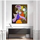 Pablo Picasso Mujeres con un cuadro de lienzo Flowe Posters ImpresionesArte de la pared Pintura Imagen decorativa Decoración para el hogar -50x70cm Sin marco