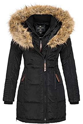 Geographical Norway BEAUTIFUL LADY - Parka cálida mujer - Abrigo grueso con capucha de piel falsa - Chaqueta de invierno - Chaqueta larga con forro cálido - Regalo para mujer Moda casual (Negro M)