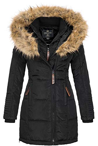 Geographical Norway BEAUTIFUL LADY - Warme Damen Parka - Mantel mit Kunstpelz Kapuze - Winter Wind Jacke - Lange Jacke winterjacke - Damen Geschenk Elegante Mode (Schwarz S)
