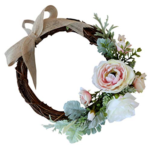 Gadpiparty Artificial Rose Flower Wreath Garland Silk Rose Door Ratten Wreath with Ribbon Fake Rose Wreath for Front Door Wall Wedding Home Decor