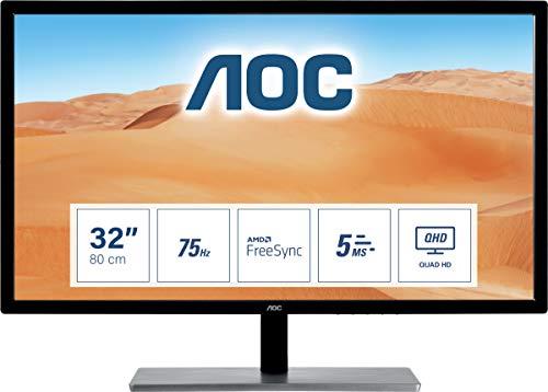 AOC Q3279VWFD8 31.5' QHD 2560x1440 Monitor, 10-Bit IPS Panel, 4ms, 75Hz, Freesync, DisplayPort/HDMI/DVI-D/VGA, Flickerfree