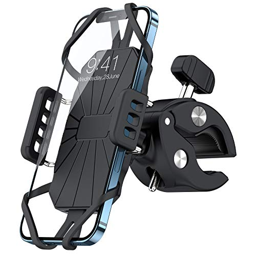TORRAS Bike Phone Mount, [Super Secure] Universal Cell Phone Holder for Bike, Bicycle, Motorcycle Compatible with iPhone 12 11 Pro Max SE XS XR 8 Plus Samsung Galaxy S20 S21 Note 20 Ultra