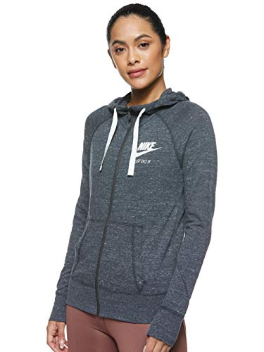 Nike Womens Gym Vintage Full Zip Hooded Sweatshirt Anthracite/Sail 883729-060 Size X-Small