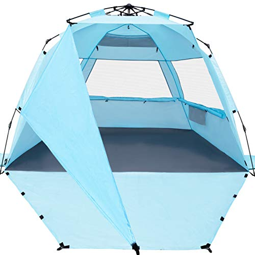 KO-ON XL Beach Tent Sun Shelter Pop Up , Easy Setup Beach Shade for 3-4 Person with UPF 50+ Protection, Extra Shade on One Side, Extended Floor & 3 Ventilation Windows(Light Blue)