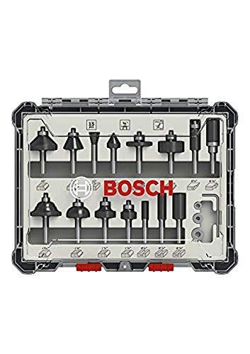 Bosch Professional 2607017473 - Set da 15 pezzi Set di frese (per legno, per frese verticali con gambo da 1/4'