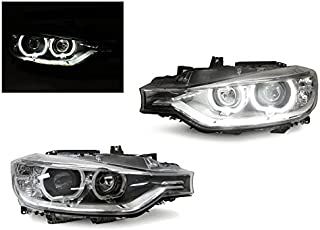 Black LED Angel Eyes Halo Rings Projector Headlight by DEPO Fit For 2012-2015 BMW F30 / F31 3 Series 4D Sedan / 5D Wagon Halogen Models