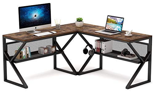 Tribesigns 3 Piece K-Frame L-Shaped Desk with Bookshelf, Corner Computer Office Desk PC Laptop Gaming Table Workstation with Open Storage Shelves for Home Office, Rustic Brown