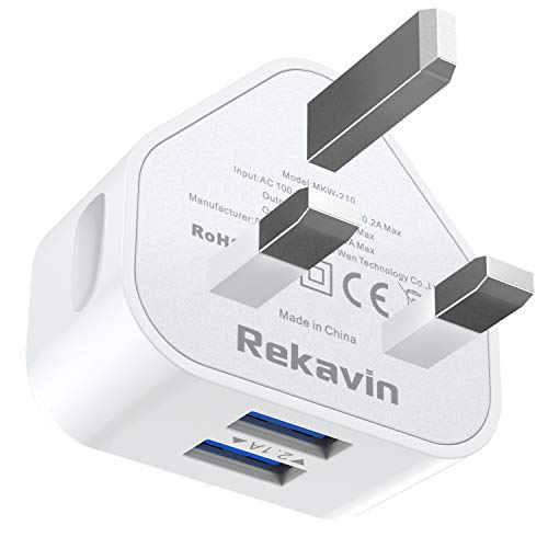 USB Plug Charger,Rekavin Dual Port USB Wall Plug Adapter UK Compact Mains Charge 2.1A with Smart IC Fast Charging Technology for iPhone 11 Xs/XS Max/XR/X/8/7/6/Plus SE 2020,iPad Pro/Air 2/Mini 4 ect.