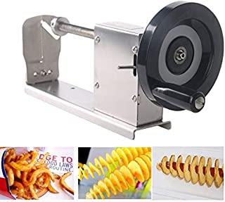 Stainless Steel Spiral Potato Chip Cutter with Crank and Non-Slip Rubber Feet for Fruits, Potatoes