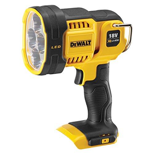 DeWalt Akku-LED-Strahler / Baustellenstrahler (18 V, max. 1.000 Lumen, max. 400 m Distanz, drei weiße und ein abgesoftete rote LED, drehbarer Lampenkopf, Lieferung ohne Akku und Ladegerät), DCL043