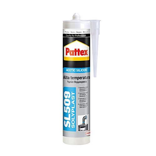 Pattex 1533675 SL 509 Alta Temperatura Sellador de silicona acética, sellador de silicona negra resistente a altas temperaturas, silicona para aluminio y vidrio, 1 x 300 ml