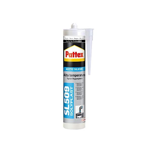 Pattex 1533675 SL 509 Alta Temperatura Sellador de silicona acética, sellador de silicona negra resistente a altas…