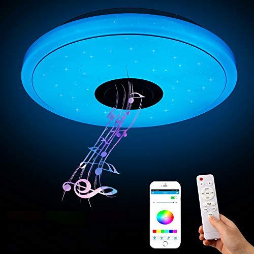 Plafonnier LED Musique 36W, YOMERA Lampe Plafond Bluetooth avec RGB Changement de couleur/Télécommande et Contrôle APP/3000-6500K, Luminaire Plafonnier pour Salon, Couloir, Chambre, Cuisine, Ø 33 cm