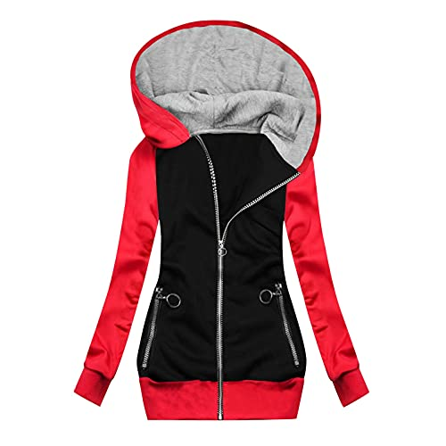 Long Sleeve Shirts for Women Pack,Womens zip up Jacket Petite Novelty Coats Outerwear Girls Spring Colorful Sweatshirts Workout Fall Clothes for Women Plus Size Tops Red