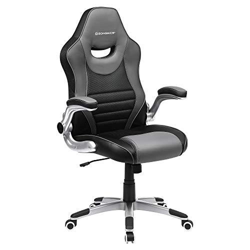 SONGMICS Bürostuhl, ergonomischer Drehstuhl, Gamingstuhl mit hochklappbaren Armlehnen, Computerstuhl, Nylon-Sternfuß, max. statische Belastbarkeit 150 kg, fürs Büro, schwarz-grauOBG63BG