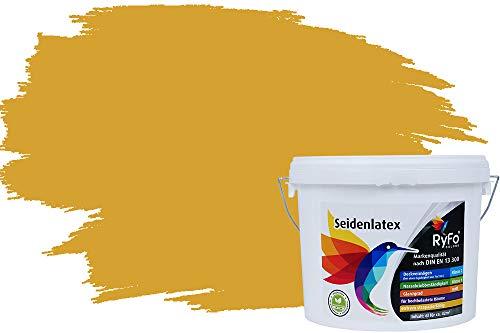 RyFo Colors Seidenlatex Trend Gelbtöne Currygelb 12,5l - bunte Innenfarbe, weitere Gelb Farbtöne und Größen erhältlich, Deckkraft Klasse 1