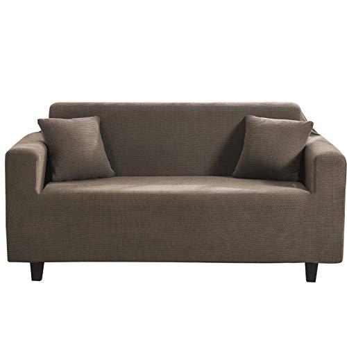 CENPENYA Funda de sofá elástica de licra para sofá, sillón, protector de muebles antideslizante, tela de licra duradera, funda para sofá para sala de estar (marrón claro, L)