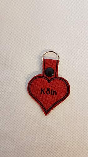 Schlüsselanhänger Köln Herz Anhänger rot Charms Taschenbaumler Kölner Dom Geschenkidee