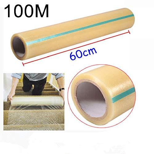 Teppichschutzfolie, Kunststoff-Bodenläufer, selbstklebende Oberfläche, Schutzfolie, 61 x 100 m, für Treppen, Teppich, Bodenläufer, strapazierfähig, durchstich- und wasserabweisend