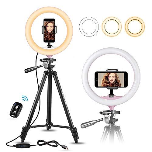 "10"" Selfie Ring Light with 50"" Extendable Tripod Stand & Flexible Phone Holder for Live Stream/Makeup, UBeesize Mini Led Camera Ringlight for YouTube Video, Compatible with iPhone/Android (Pink)"