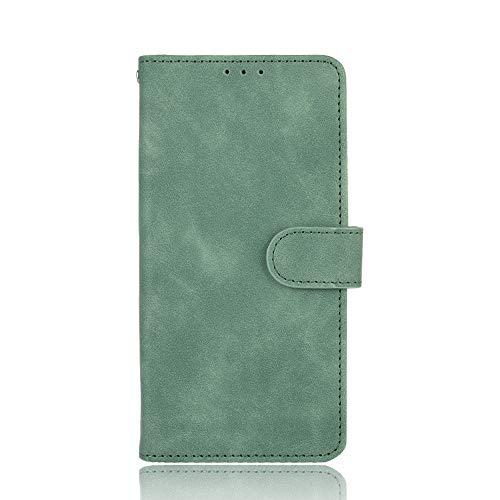 NEINEI Hülle für Xiaomi Poco F2 Pro Handyhülle,Flip Lederhülle Schutzhülle mit [Kartenfach] [Standfunktion] [Magnetverschluss],Seidig Haut Textur Handytasche Cover Hülle,Grün