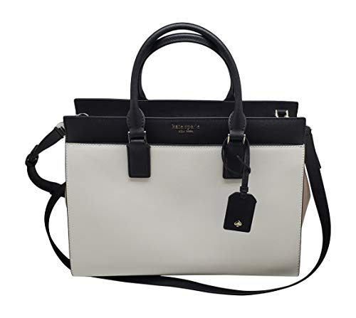 Kate Spade New York Cameron Large Satchel Purse (Bright White/Warm Beige/Black)